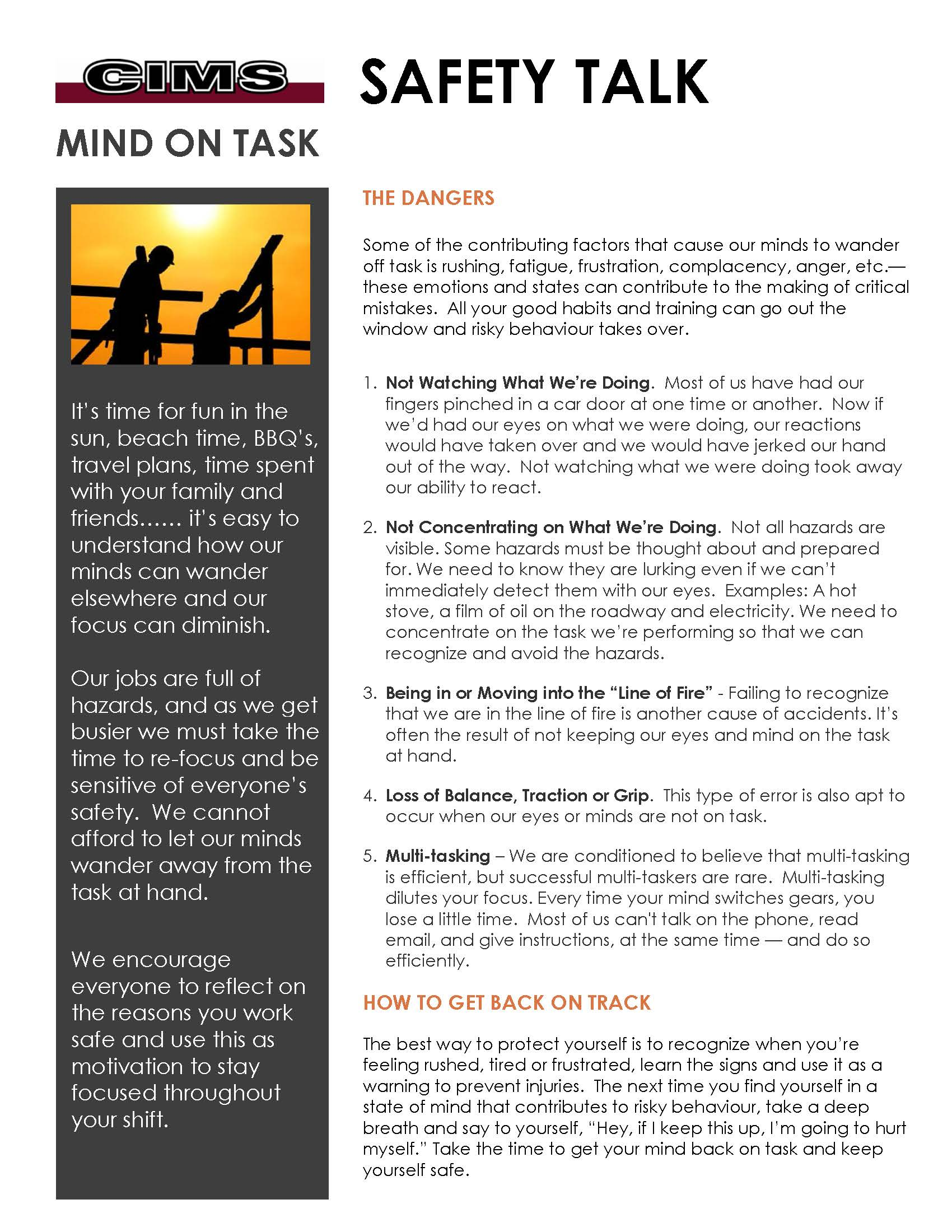 How To Get Your Mind To Read >> Cims Safety Talk Mind On Task Cims Ltd